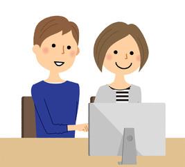 若いカップル PC