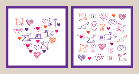 Set of Greeting cards for Valentine's Day, Mother's Day, Father's Day, birthday, wedding with hand drawn elements. Doodles, sketch. Vector illustration.