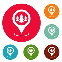 Forest map pointer icons circle set vector isolated on white background