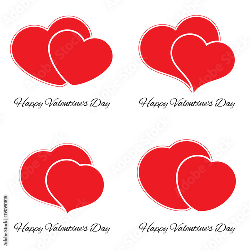 Set Of Four Big And Small Red Hearts Romantic Love Symbol Of