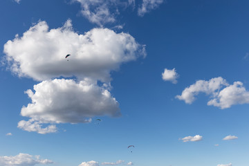 Some paragliders flying against a beautiful deep, blue sky, with big white clouds