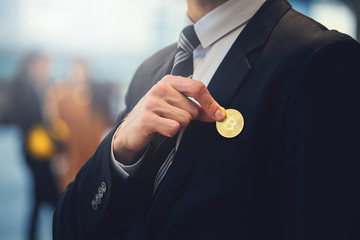 Bitcoin with business man
