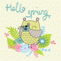 Card with cartoon owl in bright colors. Hello spring.
