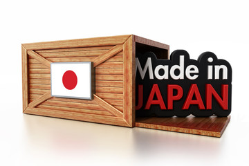 Made in Japan text inside cargo box with Japanese flag. 3D illustration