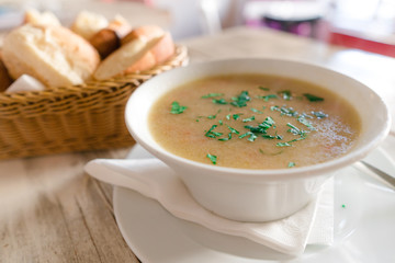 Delicious creamy  soup on a chic table set up