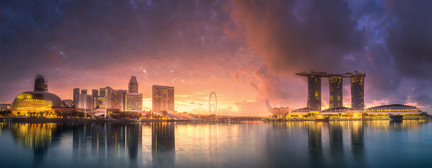 Downtown district and Marina bay in Singapore