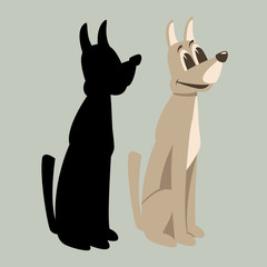 dog cartoon vector illustration flat style  silhouette
