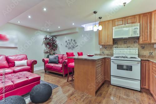 Basement Interior Design With Kitchen Stockfotos Und Lizenzfreie Awesome Basement Interior Design