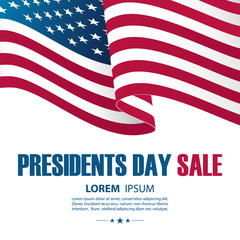 Presidents Day Sale special offer card with United States waving national flag for business, promotion and holiday shopping. Vector illustration.