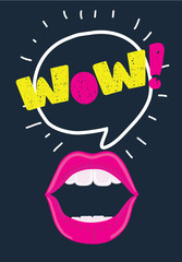 Mouth with speach bubble. Wow and female lips in pop art style concept for advertising or poster. Vector illustration