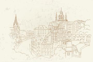 Wall Mural - Vector Sketch of Andrew Descent in Kiev, Ukraine.
