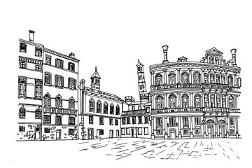 Vector sketch of architecture of Venice, Italy.