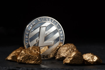 Silver Bitcoin Coin and mound of gold. Bitcoin cryptocurrency.