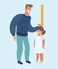 Kindergarten teacher or father measuring girl kid height with painted graduations on the wall arrow.