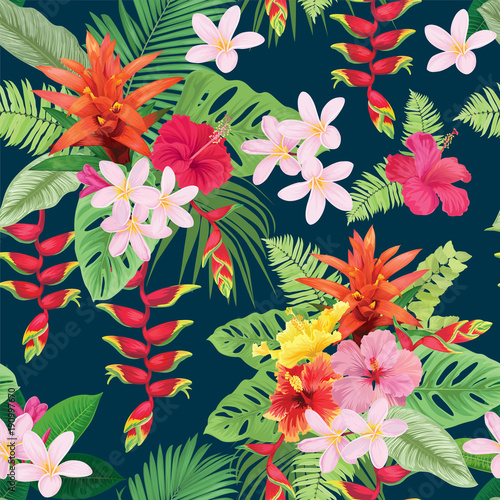 Beautiful seamless pattern with hibiscus flowers and guzmania on