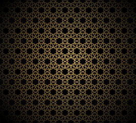 Abstract gold pattern geometric of Islamic, Arabesque ornament on black background. Seamless Vector illustration.