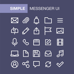 Set of messenger icons for simple flat style ui design