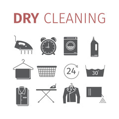 Dry cleaning services. Vector icons.