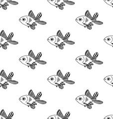 Goldfish Seamless on White Background