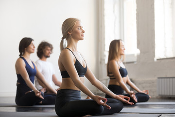 Group of young sporty people practicing yoga lesson with instructor, sitting in Padmasana exercise, Lotus pose, mudra gesture, working out, full length, students training in club, studio, side view