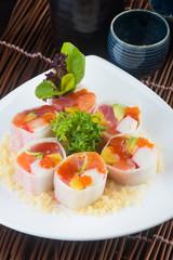 japanese cuisine. sushi on the background