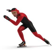 Speed Skater on white. 3D illustration