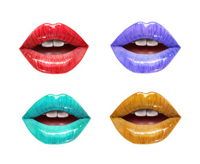 Colorful lips collection. Mouth set isolared on white background. Vector lipstick or lip gloss 3d realistic illustration.