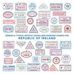 Custom vector typical artistic passport arrival and departure stamps variations set for Ireland