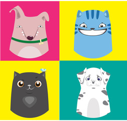 Cartoon dogs and cats collection. Vector colorful illustrations.