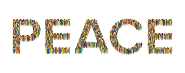 Vector crowd of people in form of Peace text flat style
