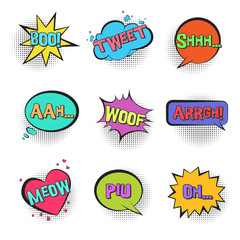 Big set of Retro comic speech bubbles with animal sounds TWEET, WOOF, SHHH, MEOW with halftone shadow in pop art style. Bright colorful balloons for comics book, advertisement text, web design, badge