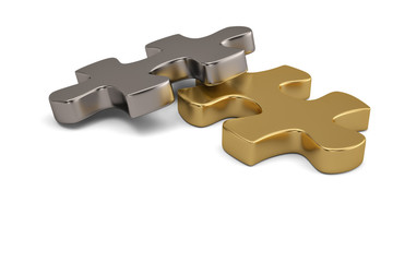 Gold and steel puzzle pieces on white background.3D illustration.