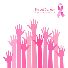 pink ribbon icon, breast cancer awareness, people hands. Vector illustration.
