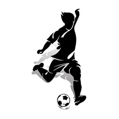 Silhouette of an athlete soccer player with a ball, makes a punch, on a white background,