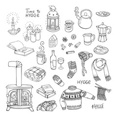 Vector illustration. Hand-drawn set of hygge doodles.