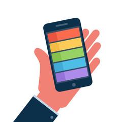 Smartphone on hand flat icon. Vector Illustration