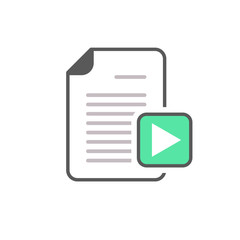 Document file page play button video icon