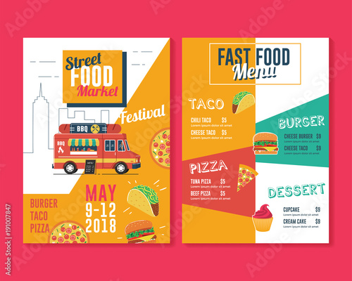 food truck flyer and menu template street food market stock image