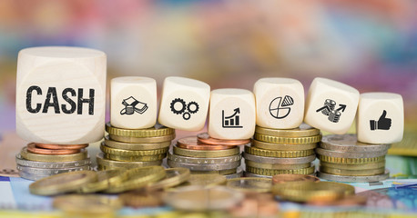 Cash / Münzenstapel mit Symbole
