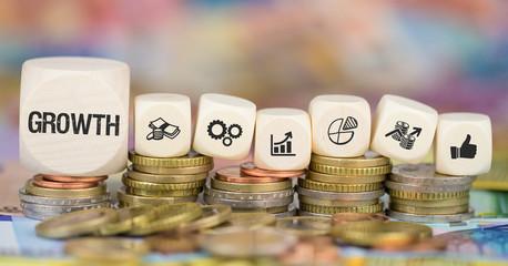 Growth / Münzenstapel mit Symbole