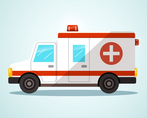 Ambulance Car. Flat Design Vector Illustration.