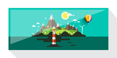 Abstract Vector Picture of Island with Hills and Lighthouse. Flat Design Landscape.