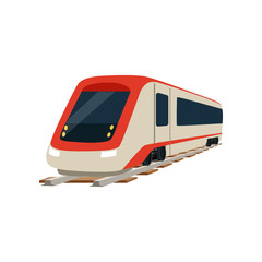 Speed modern high speed railway train locomotive vector Illustration