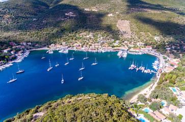 Fotobehang Eiland Sivota bay on Lefkada Island Greece aerial view