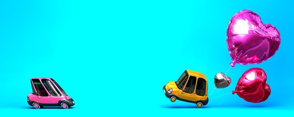 Heart foil balloon with flirting car toys on blue background, 3D Illustration.