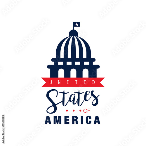 logo design with red ribbon and silhouette of white house national