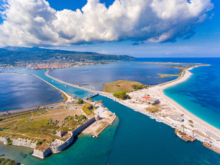 Lefkada fortress and longest beach as seen from the air
