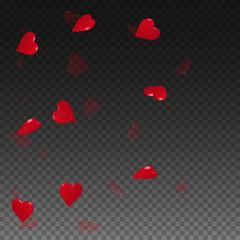 3d hearts valentine background. Left gradient on transparent grid dark background. 3d hearts valentines day grand design. Vector illustration.