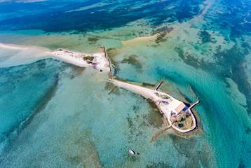 Top down view of Agios Nikolaos island near Lefkada Town in Greece Ioanian Islands as seen from above