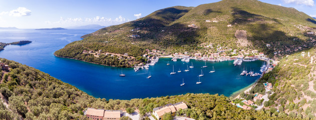 Sivota bay panorama in Lefkada Island aerial view